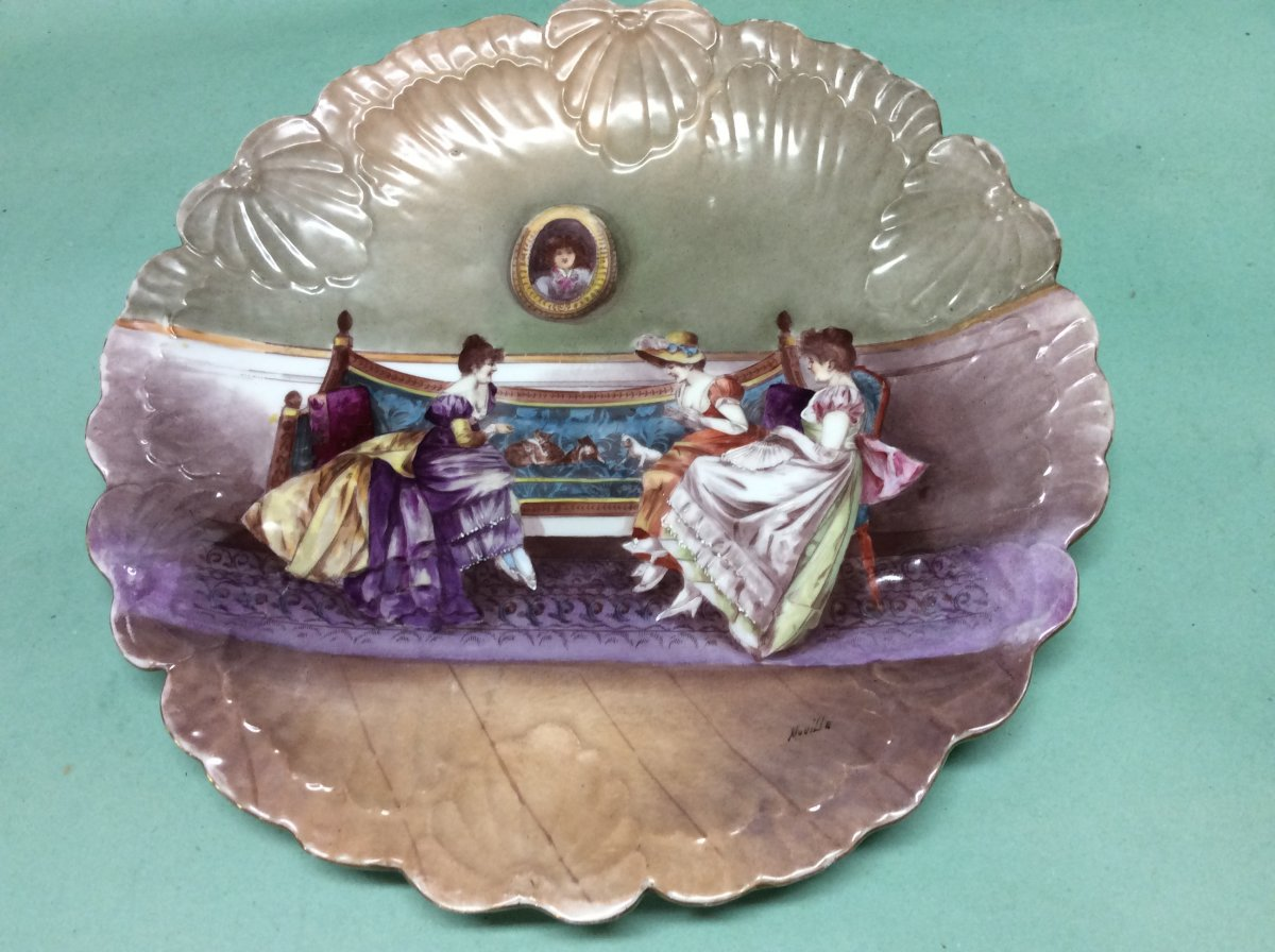 Large Dish Limoges Porcelain Signed Muville