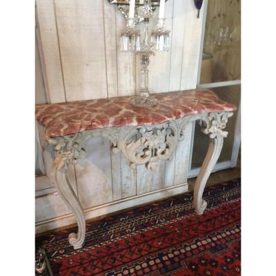 Console d'Applique d'époque Louis XV En Noyer, Patine Grise, Faux Marbre