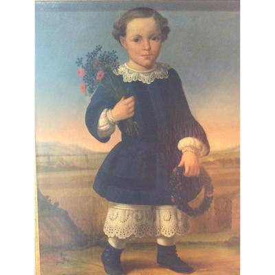 Portrait d Enfant Au Bouquet Fin XVIIIème Début XIXème