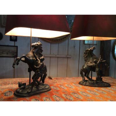 """Paire De Lampes En Régule """"les Chevaux De Marly"""""""