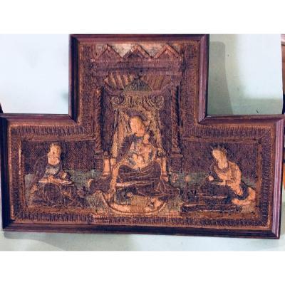 Fragment d'Orfrois La Vierge Et l'Enfant