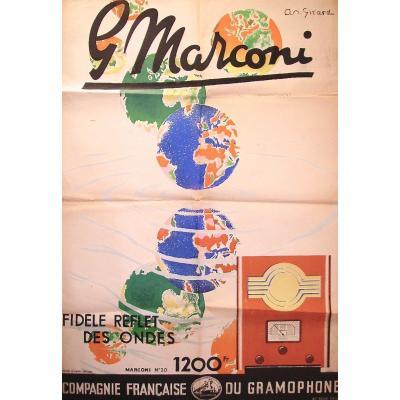 -  Affiche  Publicitaire    Marconi  -  André  Girard  -  Lithographiée  Ancienne  -
