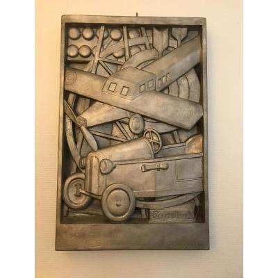 Plaque En Plâtre Peinte En Argent signée A. BINQUET 1935