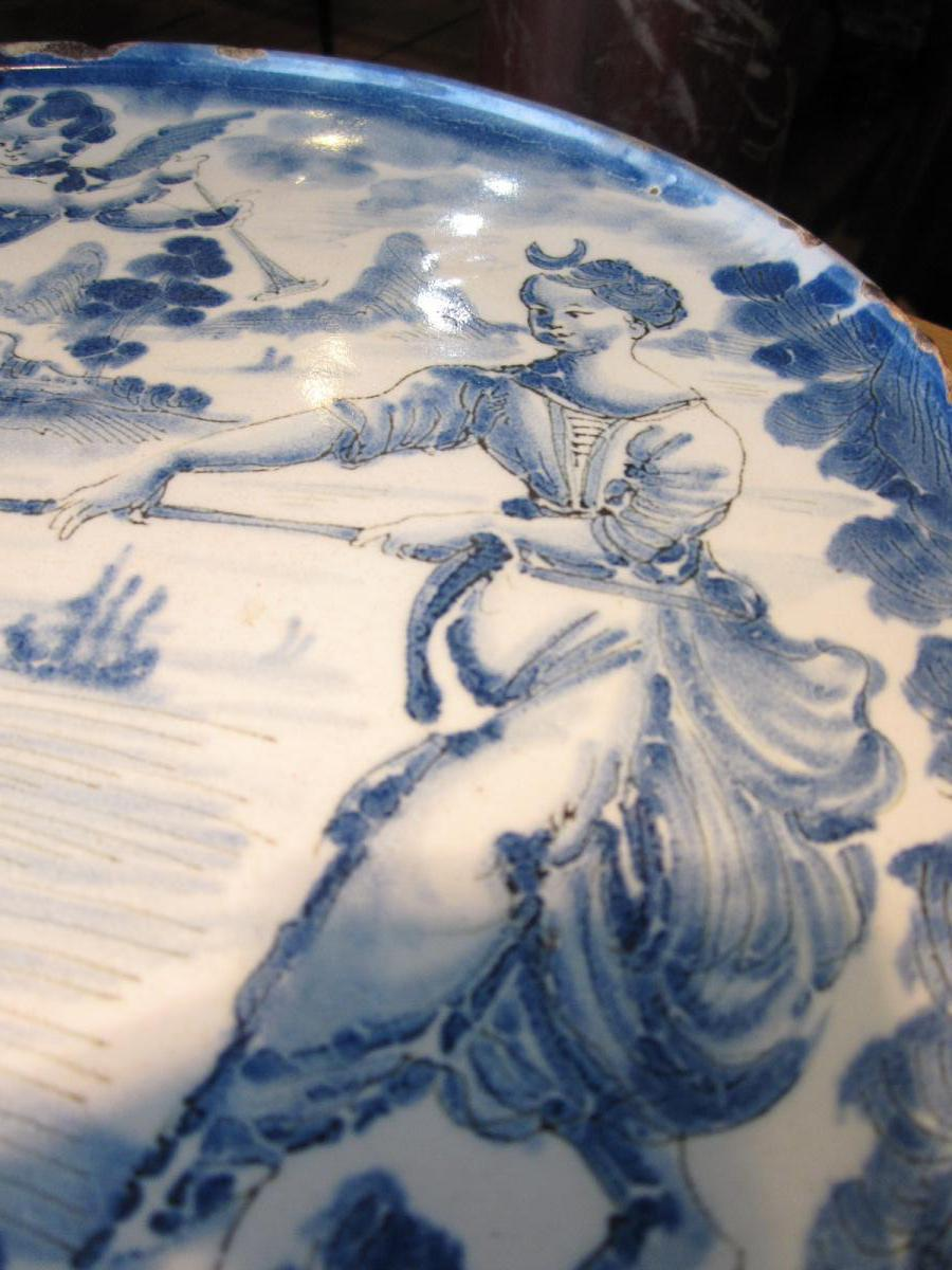 Plateau Cabaret In Earthenware From Savona To Decor Of A Venus And A Triton
