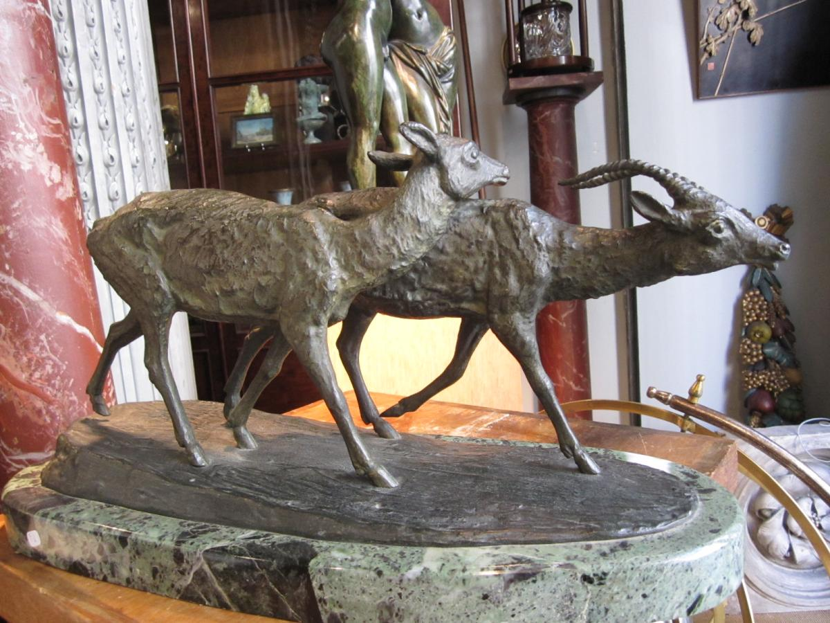 Irenée Rochard (1906-1984) Couples Of Antelopes