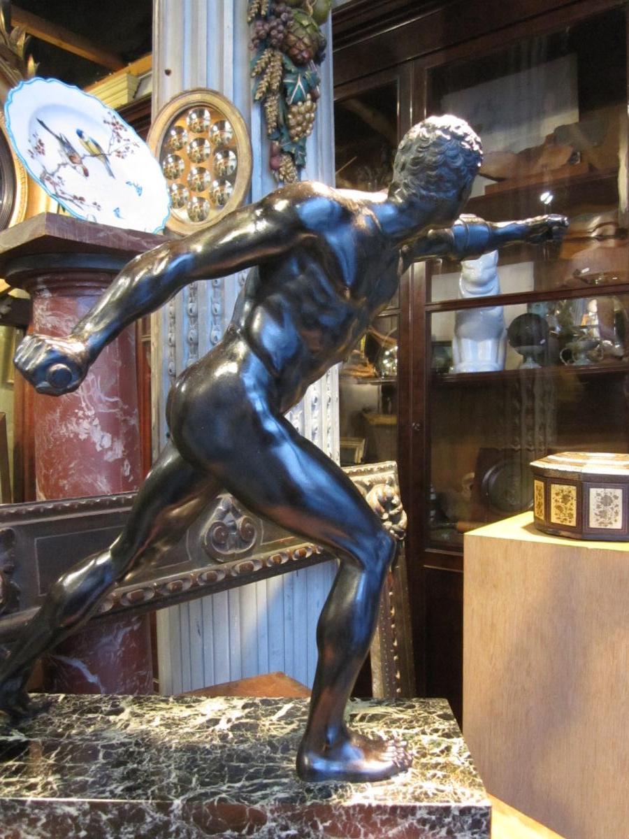 Bronze à patine brune d'après l'antique le gladiateur Borghèse -photo-3