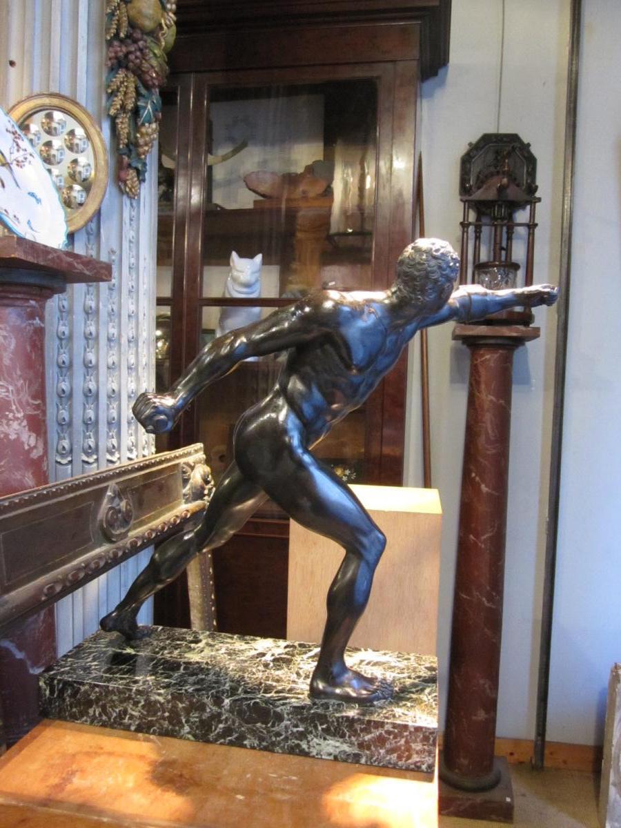 Bronze à patine brune d'après l'antique le gladiateur Borghèse -photo-4