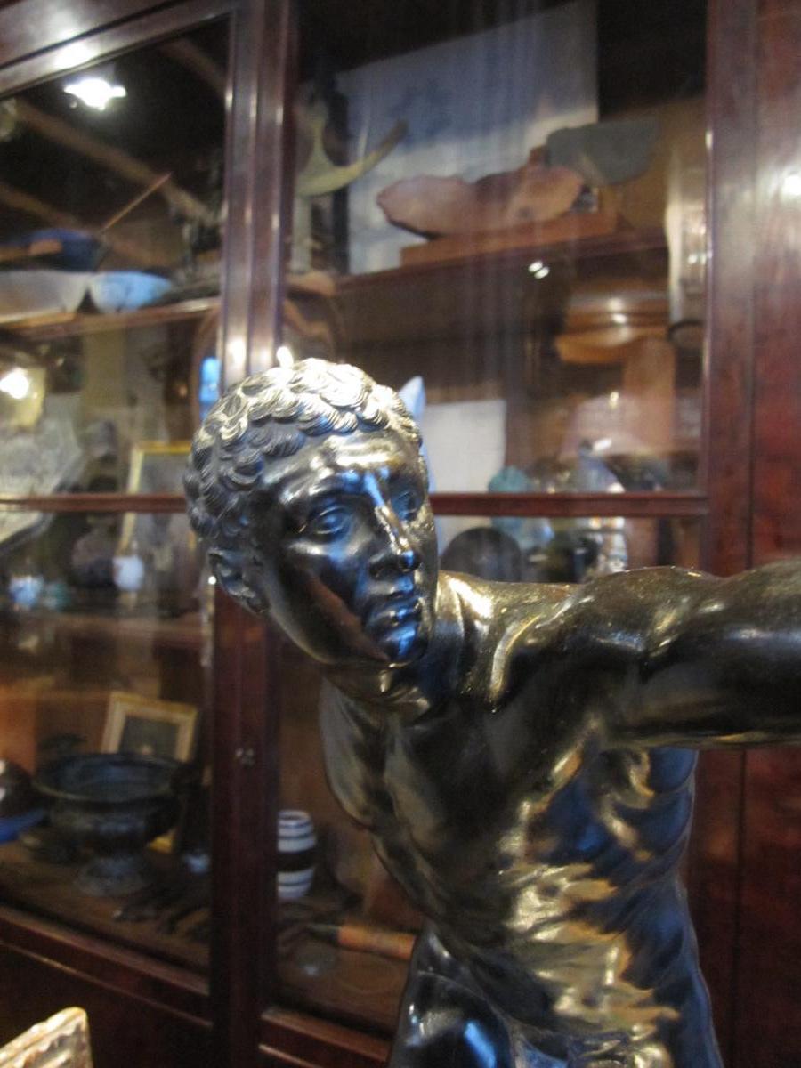 Bronze à patine brune d'après l'antique le gladiateur Borghèse -photo-5