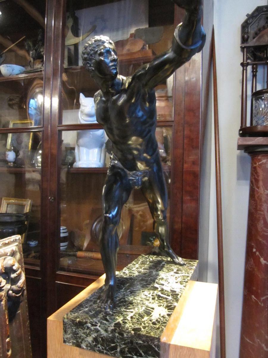 Bronze à patine brune d'après l'antique le gladiateur Borghèse -photo-6