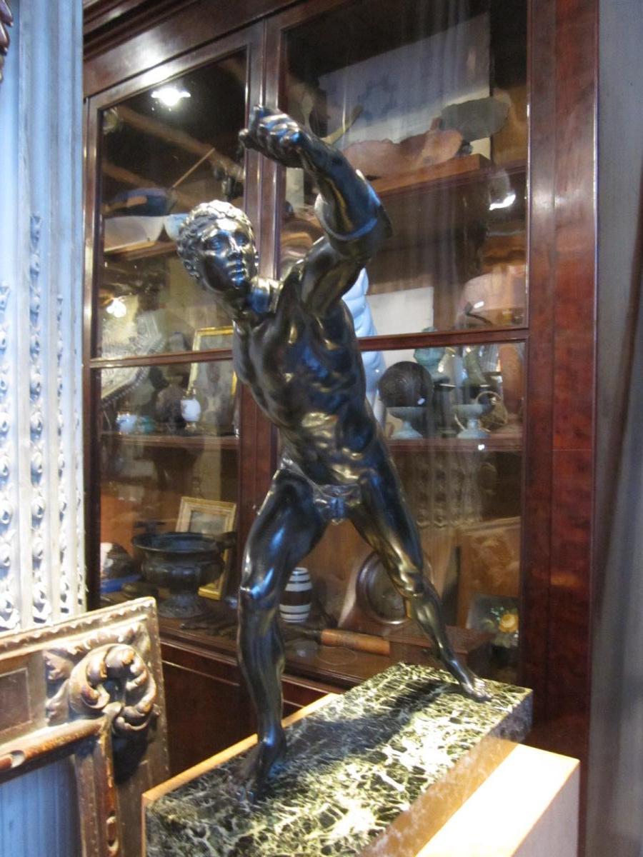 Bronze à patine brune d'après l'antique le gladiateur Borghèse -photo-8