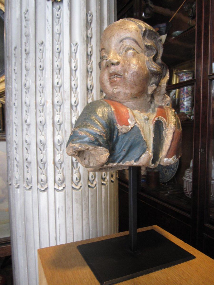 Buste d'Angelot En Terre Cuite Polychrome , Travail Probablement Breton Du Milieu Du 17ieme .