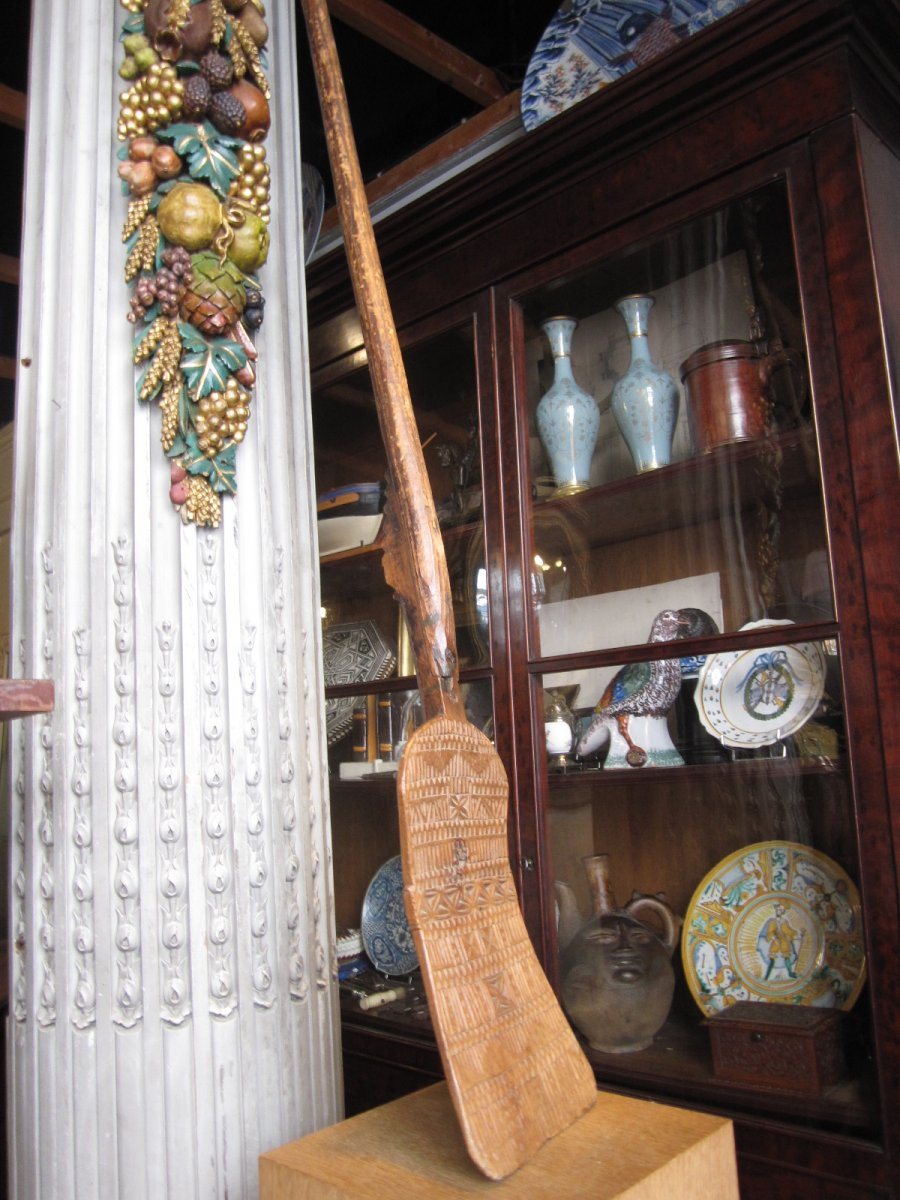 Large Wooden Shovel (pine) In Two Parts Decor Geometric Patterns.