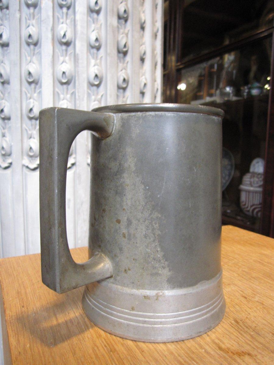 Chope à Bière Anglaise De Jeu , En étain Et Métal étamé .-photo-5