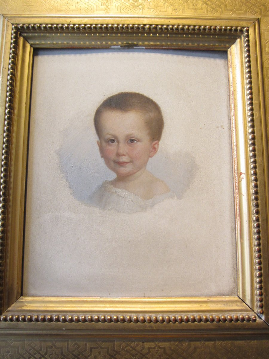 Portrait Of Child Oil On Panel Not Signed.