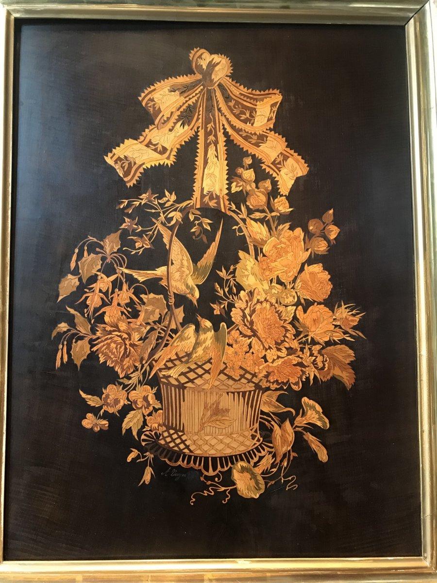 Panneau En Marqueterie Représentant Un Bouquet De Fleurs.
