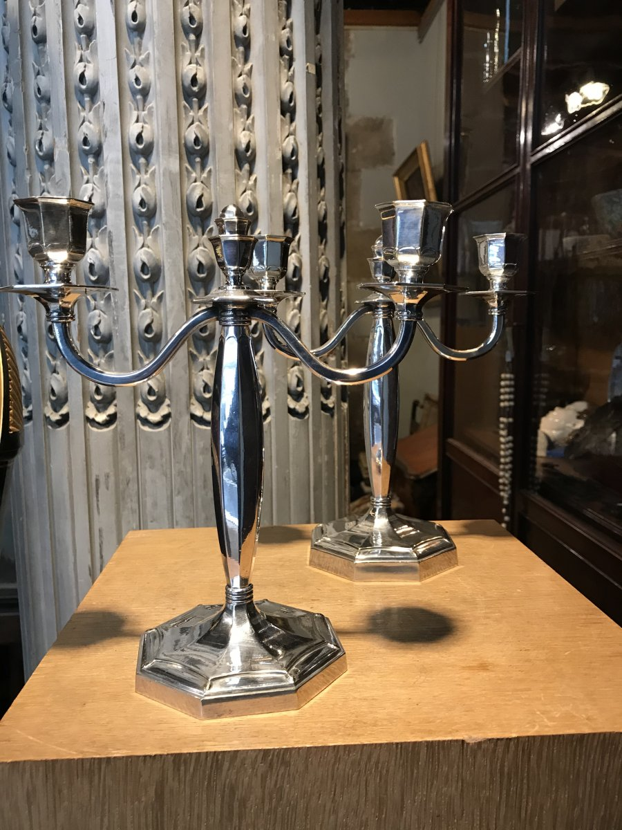 Pair Of Silver Metal Candlesticks From Maison Christofle