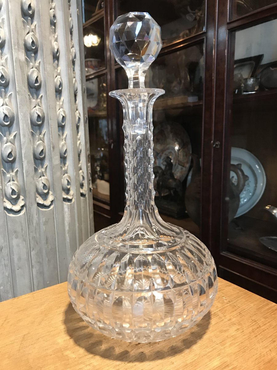 Carafe à Vin En Cristal Taillée.-photo-1