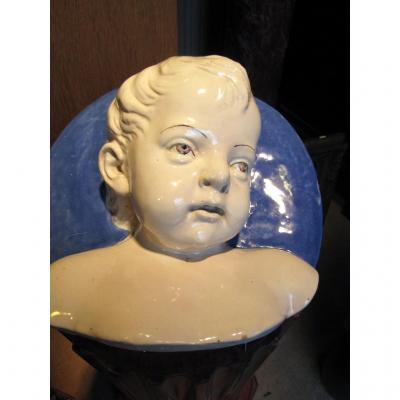 Tête d'Enfant En Faience Probablement Manufacture De Cantagalli
