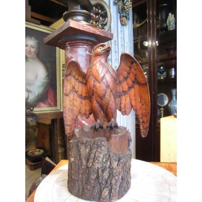 Vide poche En Bois Figurant Un Aigle Travail Suisse Vers 1880 Portant Une étiquètte De Lucerne