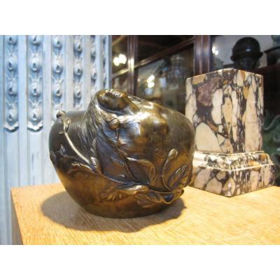 Vase Art Nouveau Bronze Decor A Branch Of Flowers Poppy.