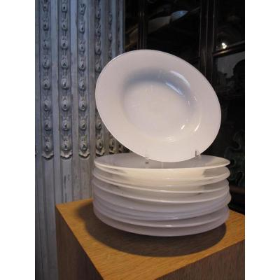 Following Eleven Plates Hollow In White Soapy Opaline.