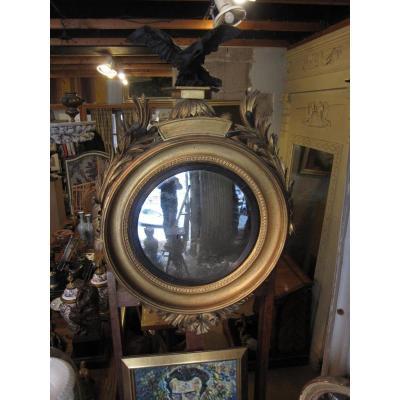 Miroir Sorcière De Forme Circulaire En Bois Doré Et Mouluré