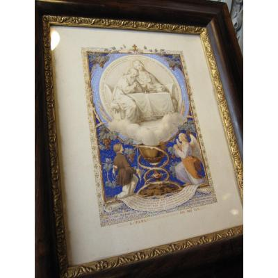 Illuminated Signed Louis Joseph Hallez Dated 1856 With Its Glass And Its Original Setting.