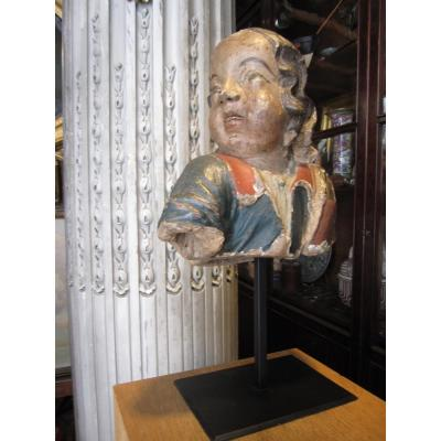 Bust Of Cherub In Polychrome Terracotta, Probably Breton Work Of The Middle Of The 17th.