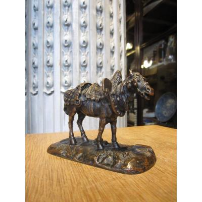 Cheval De Trait d'Après P.J.Mêne , Bronze à Patine Brune.