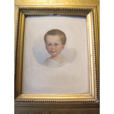 Portrait d'Enfant  Huile Sur Panneau Non Signé .