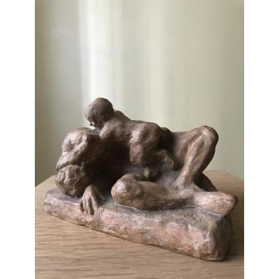 Terracotta Study Featuring A Man And A Child.