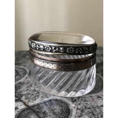 Oval Pill Box In Crystal And Silver.