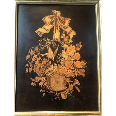 Marquetry Panel Representing A Bouquet Of Flowers.