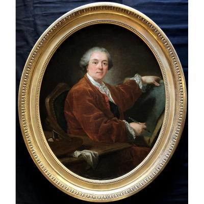 Portrait Présumé De Charles Nicolas Cochin (1714-1798)