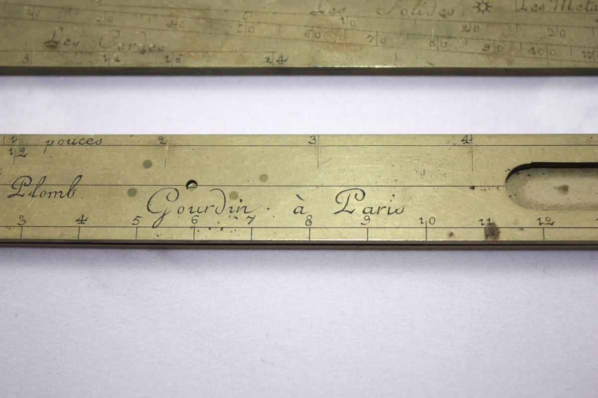 Compas De Proportion Et Demi Pied De Roy Signé Gourdin à Paris