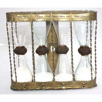 Rare Hourglass In Organ Buffet With 4 Flasks Nuremberg 17th