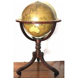 Parquet Globe Signed Newton Dated 1828 53 Cm In Diameter