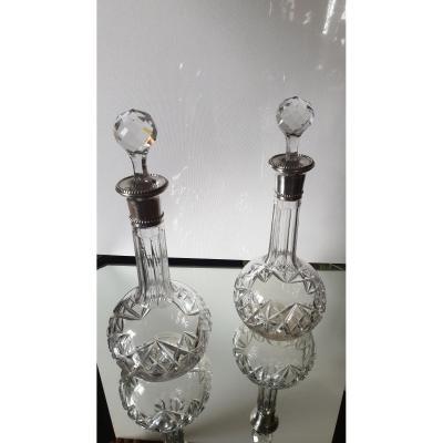Paire De Carafes En Cristal Et Argent