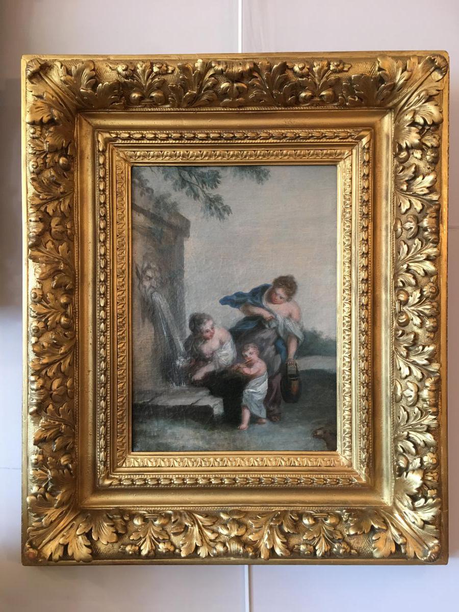 """Tableau Huile sur toile Fin 18ème """"Femmes à La Fontaine"""""""