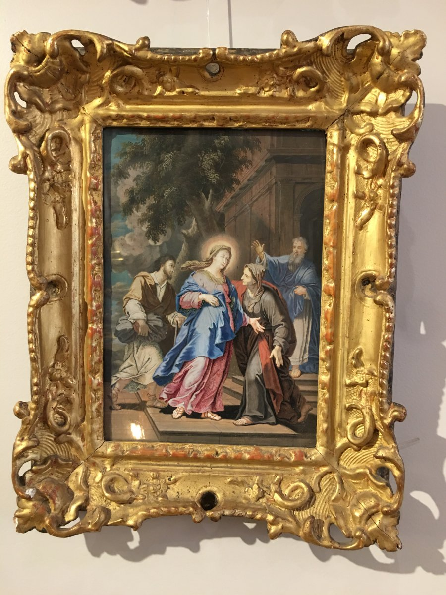 Gouache On Vellum « la Visitation » 18ème