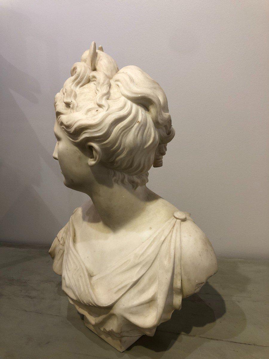 Buste de Diane En Marbre Blanc-photo-4