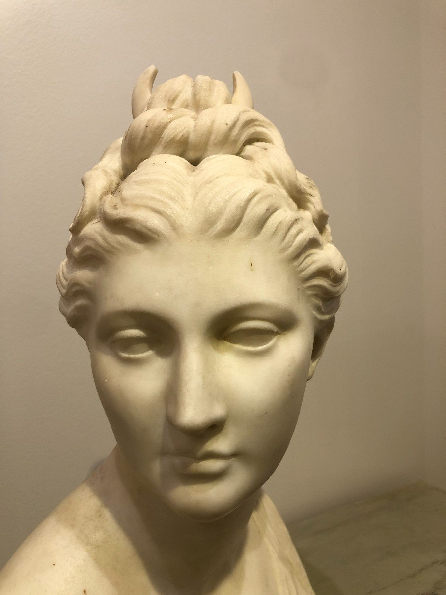 Buste de Diane En Marbre Blanc-photo-1