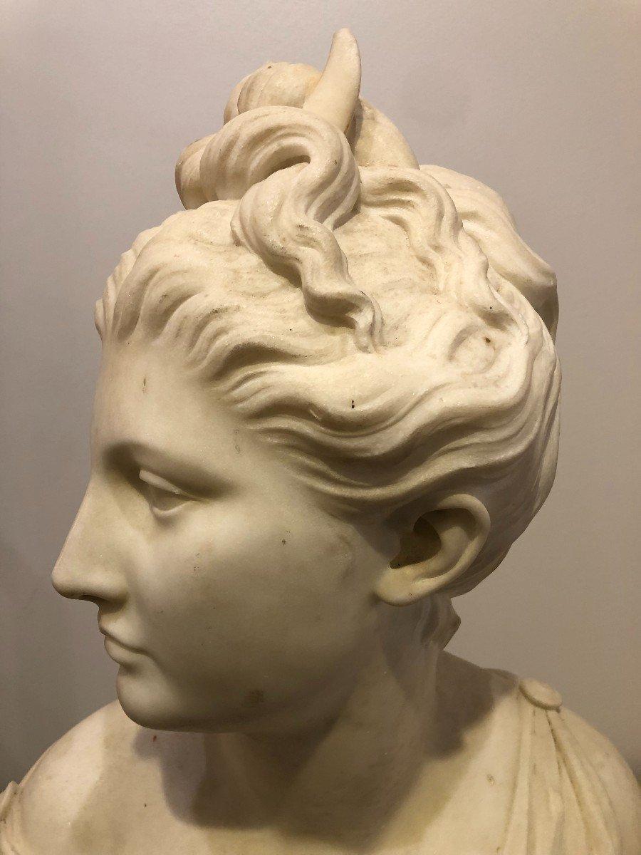 Buste de Diane En Marbre Blanc-photo-2