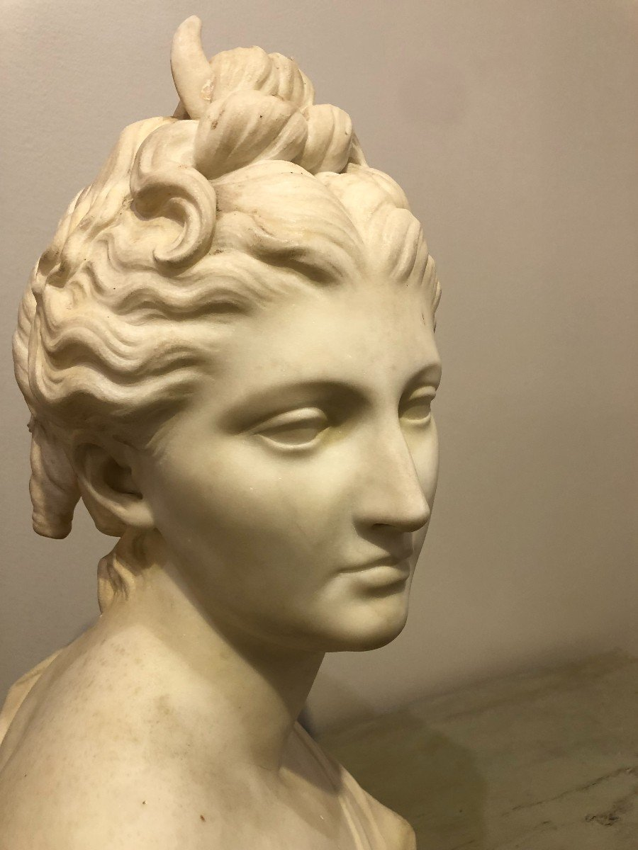 Buste de Diane En Marbre Blanc-photo-3