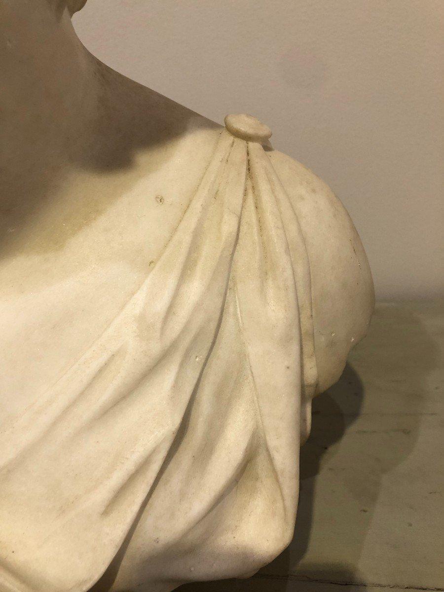 Buste de Diane En Marbre Blanc-photo-6