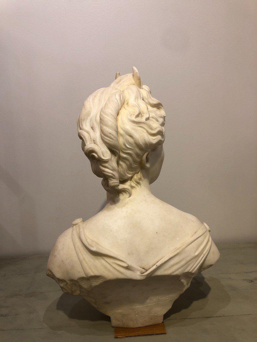 Buste de Diane En Marbre Blanc-photo-7