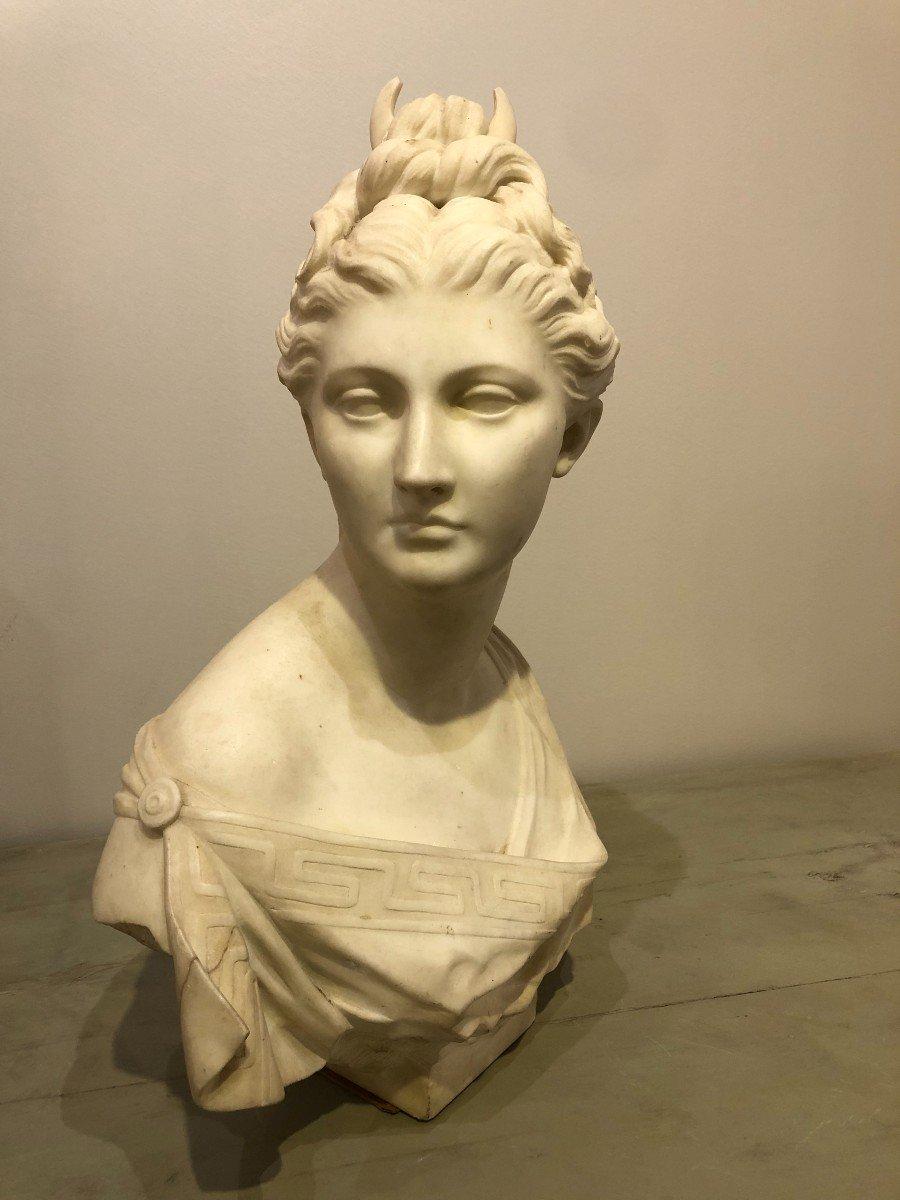 Buste de Diane En Marbre Blanc