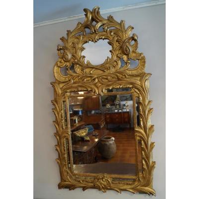 Grand Miroir à Fronton En Bois Doré d'Epoque Louis XV