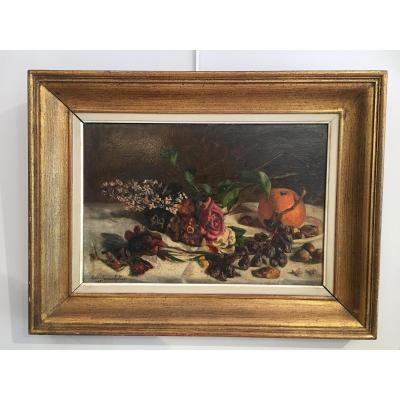 """Tableau HSP """"Nature morte aux fleurs et fruits"""" de Marie Van Den Eycken (1885)"""