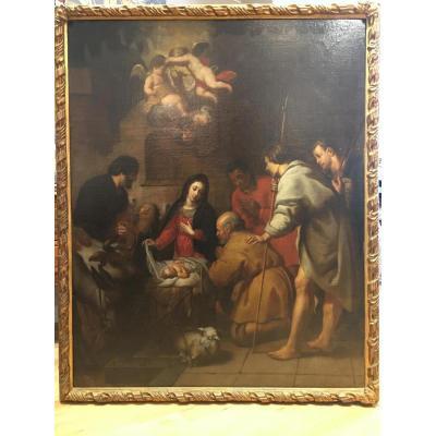 « L'adoration des bergers », Ecole de Séville vers 1670